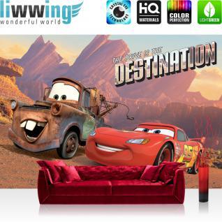 liwwing Fototapete 368x254cm PREMIUM Wand Foto Tapete Wand Bild Papiertapete - Kindertapete Disney - Cars Tapete Lightning McQueen Hook Wüste Destination bunt - no. 3388