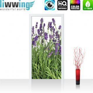 liwwing Türtapete selbstklebend 91x211 cm PREMIUM PLUS Tür Fototapete Türposter Türpanel Foto Tapete Bild - Lavendel Pflanze Wiese - no. 612