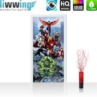 liwwing Türtapete selbstklebend 91x211 cm PREMIUM PLUS Tür Fototapete Türposter Türpanel Foto Tapete Bild - MARVEL Avengers Asemble Kindertapete Cartoon Comic Held - no. 1134