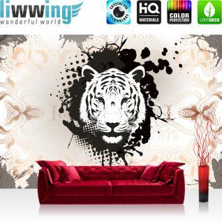 liwwing Fototapete 368x254 cm PREMIUM Wand Foto Tapete Wand Bild Papiertapete - Tiere Tapete Tiger Tier Schnörkel Blumen beige - no. 2238