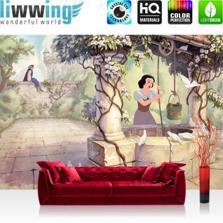 liwwing Vlies Fototapete 416x254cm PREMIUM PLUS Wand Foto Tapete Wand Bild Vliestapete - Disney Tapete Schneewittchen und die 5 Zwerge Kindertapete Märchen Prinz beige - no. 2336