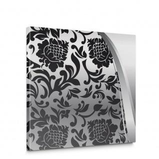 Leinwandbild Ornamente Elegant Barock schwarz-weiß Grau Blumig Wohnzimmer | no. 275
