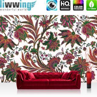 liwwing Vlies Fototapete 312x219cm PREMIUM PLUS Wand Foto Tapete Wand Bild Vliestapete - Ornamente Tapete Blüten Blätter Ranke Schnörkel Kunst weiß - no. 2088