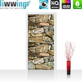 liwwing Türtapete selbstklebend 91x211 cm PREMIUM PLUS Tür Fototapete Türposter Türpanel Foto Tapete Bild - Steinwand Steine Steinoptik - no. 618