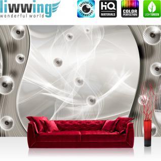 liwwing Vlies Fototapete 350x245 cm PREMIUM PLUS Wand Foto Tapete Wand Bild Vliestapete - 3D Tapete Abstrakt Kugeln Netz Geflecht Schwung Streifen 3D sepia - no. 940