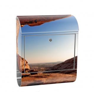Edelstahl Wandbriefkasten XXL mit Motiv & Zeitungsrolle | Berg Landschaft Natur Mesa Arch Canyon Berge | no. 0034