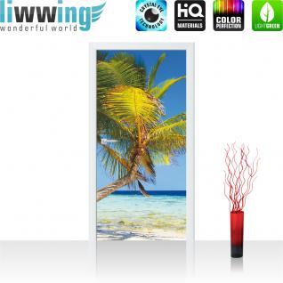 liwwing Türtapete selbstklebend 91x211 cm PREMIUM PLUS Tür Fototapete Türposter Türpanel Foto Tapete Bild - Strand Palmen Meer Paradies - no. 1101