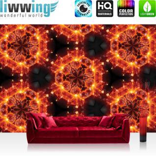 liwwing Vlies Fototapete 312x219cm PREMIUM PLUS Wand Foto Tapete Wand Bild Vliestapete - Kunst Tapete Feuer Muster Blumen Blüten rot - no. 2290