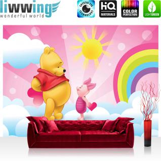 liwwing Vlies Fototapete 208x146cm PREMIUM PLUS Wand Foto Tapete Wand Bild Vliestapete - Disney Tapete Winnie Puuh Kindertapete Cartoon Ferkel Liebe Herzen Regenbogen rosa - no. 2061