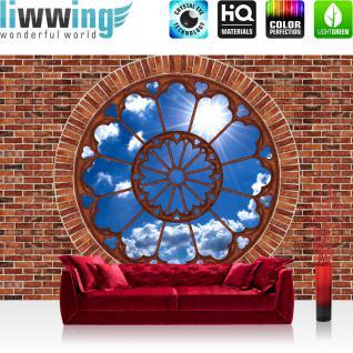 liwwing Vlies Fototapete 104x50.5cm PREMIUM PLUS Wand Foto Tapete Wand Bild Vliestapete - Steinwand Tapete Stein Steinoptik Steine Wand Himmel Sonne Fenster braun - no. 1626
