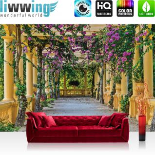 liwwing Fototapete 368x254cm PREMIUM Wand Foto Tapete Wand Bild Papiertapete - Architektur Tapete Säulengang Garten mediterran Flieder natural - no. 3531