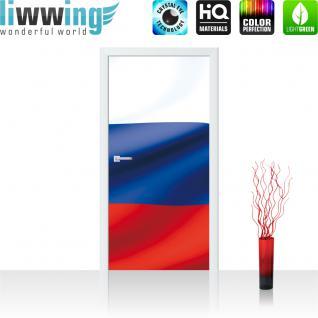 liwwing Türtapete selbstklebend 91x211 cm PREMIUM PLUS Tür Fototapete Türposter Türpanel Foto Tapete Bild - Russland Flagge Fahne - no. 1040