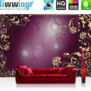 liwwing Vlies Fototapete 350x245 cm PREMIUM PLUS Wand Foto Tapete Wand Bild Vliestapete - Ornamente Tapete Diamant Blüten Ranke Schnörkel lila - no. 821