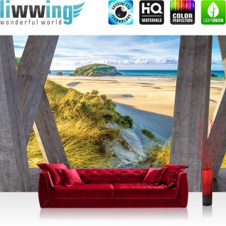 liwwing Fototapete 254x168 cm PREMIUM Wand Foto Tapete Wand Bild Papiertapete - Meer Tapete Strand Horizont Balken Himmel grau - no. 3040