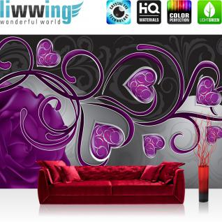 liwwing Vlies Fototapete 312x219cm PREMIUM PLUS Wand Foto Tapete Wand Bild Vliestapete - Ornamente Tapete Rose Herzen Blume Blüte Schnörkel Liebe lila - no. 1451