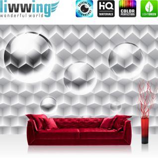 liwwing Vlies Fototapete 416x254cm PREMIUM PLUS Wand Foto Tapete Wand Bild Vliestapete - 3D Tapete Bubble Muster Vierecke Illustration grau - no. 1645