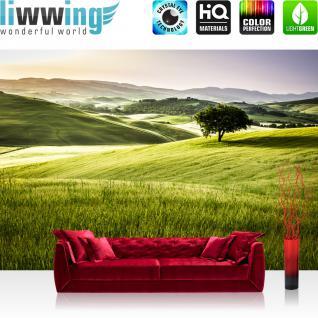 liwwing Vlies Fototapete 350x245 cm PREMIUM PLUS Wand Foto Tapete Wand Bild Vliestapete - Natur Feld Ausblick - no. 243