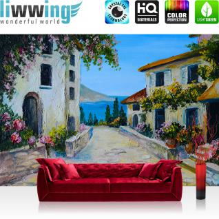 liwwing Vlies Fototapete 350x245 cm PREMIUM PLUS Wand Foto Tapete Wand Bild Vliestapete - Natur Ausblick Terrasse - no. 225