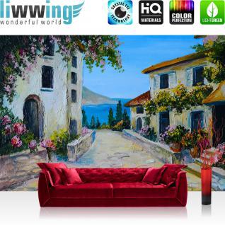 liwwing Vlies Fototapete 400x280 cm PREMIUM PLUS Wand Foto Tapete Wand Bild Vliestapete - Natur Ausblick Terrasse - no. 225