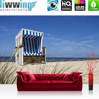 liwwing Vlies Fototapete 312x219cm PREMIUM PLUS Wand Foto Tapete Wand Bild Vliestapete - Strand Tapete Meer Gras Strandkorb Ostsee Himmel blau - no. 2831