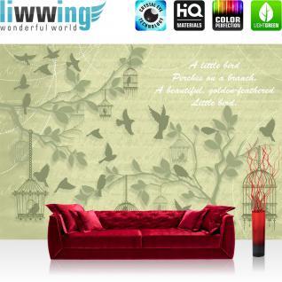 liwwing Vlies Fototapete 208x146cm PREMIUM PLUS Wand Foto Tapete Wand Bild Vliestapete - Illustrationen Tapete Vögel Tiere Käfig Schrift Kunst Natur grau - no. 1380