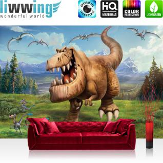 liwwing Fototapete 368x254 cm PREMIUM Wand Foto Tapete Wand Bild Papiertapete - Cartoon Tapete Disney ARLO & SPOT Disney Kindertapete Dinos Dinosaurier braun - no. 2148