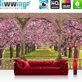 liwwing Vlies Fototapete 104x50.5cm PREMIUM PLUS Wand Foto Tapete Wand Bild Vliestapete - Pflanzen Tapete Terrasse Blumen Pflanzen Natur Kirsche Bäume lila - no. 1822