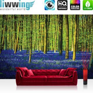 liwwing Fototapete 368x254 cm PREMIUM Wand Foto Tapete Wand Bild Papiertapete - Wald Tapete Bäume Blumen Blätter lila - no. 2255
