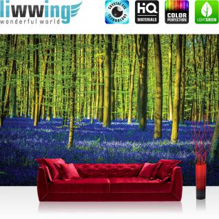 liwwing Vlies Fototapete 208x146cm PREMIUM PLUS Wand Foto Tapete Wand Bild Vliestapete - Wald Tapete Bäume Blumen Blätter lila - no. 2255