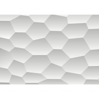 liwwing Vlies Fototapete 416x254cm PREMIUM PLUS Wand Foto Tapete Wand Bild Vliestapete - Illustrationen Tapete Wabe Muster Formen grau - no. 3113 - Vorschau 2