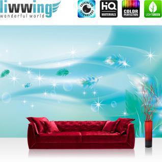 liwwing Vlies Fototapete 300x210 cm PREMIUM PLUS Wand Foto Tapete Wand Bild Vliestapete - Ornamente Tapete Abstrakt Perle Feder Stern Welle Muster blau - no. 851
