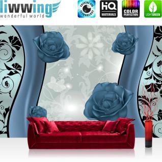 liwwing Vlies Fototapete 312x219cm PREMIUM PLUS Wand Foto Tapete Wand Bild Vliestapete - Blumen Tapete Blüten Rosen Kunst Schnörkel blau - no. 2634