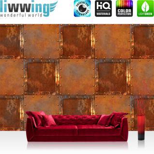 liwwing Fototapete 254x168 cm PREMIUM Wand Foto Tapete Wand Bild Papiertapete - Texturen Tapete Stahl Rechtecke Kacheln Vintage Rost Texturen braun - no. 3123