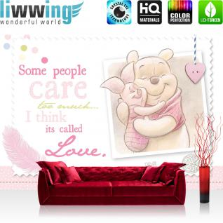 liwwing Fototapete 368x254 cm PREMIUM Wand Foto Tapete Wand Bild Papiertapete - Disney Tapete Disney - Winnie Pooh - Ferkel Kindertapete Cartoon Freunde Liebe Herz rosa - no. 406