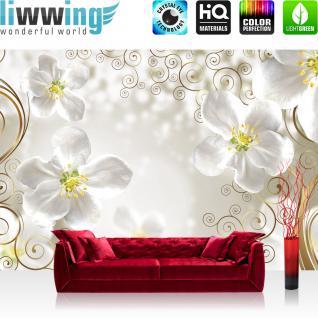 liwwing Vlies Fototapete 416x254cm PREMIUM PLUS Wand Foto Tapete Wand Bild Vliestapete - Blumen Tapete Ranke Pflanzen verspielt weiß - no. 2022