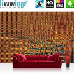 liwwing Vlies Fototapete 416x254cm PREMIUM PLUS Wand Foto Tapete Wand Bild Vliestapete - Kunst Tapete Abstrakt Muster Formen bunt - no. 2910
