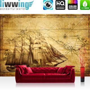 liwwing Vlies Fototapete 416x254cm PREMIUM PLUS Wand Foto Tapete Wand Bild Vliestapete - Geographie Tapete Äquator Schiff Vintage gold - no. 2650