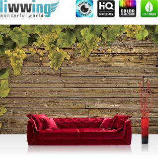liwwing Vlies Fototapete 416x254cm PREMIUM PLUS Wand Foto Tapete Wand Bild Vliestapete - Wein Tapete Holzwand Holz Wand Wein Weintrauben braun - no. 1238