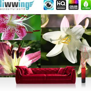 liwwing Vlies Fototapete 312x219cm PREMIUM PLUS Wand Foto Tapete Wand Bild Vliestapete - Blumen Tapete Abstrakt Kunst Blumen Illustration rot - no. 2509