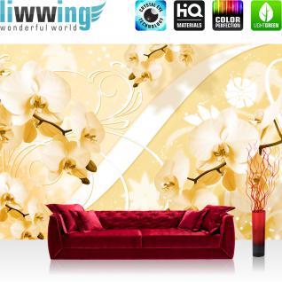 liwwing Vlies Fototapete 416x254cm PREMIUM PLUS Wand Foto Tapete Wand Bild Vliestapete - Orchideen Tapete Kunst Design Blumen Blüten Orchideen Schnürkel gelb - no. 3066