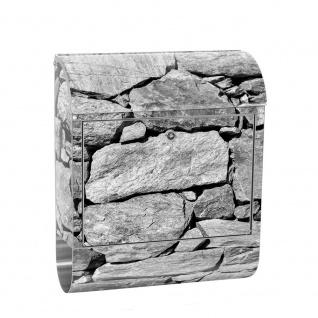 Edelstahl Wandbriefkasten XXL mit Motiv & Zeitungsrolle | Steinmauer Steine Stein Steinoptik 3D | no. 0008