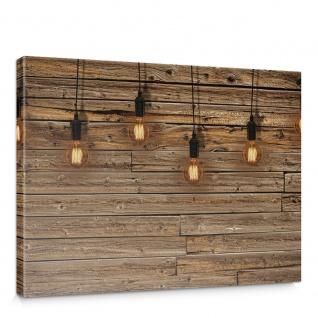 Leinwandbild Holzwand Holz Wand Leisten Bretter Glühbirnen Licht | no. 1281