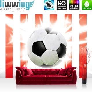 liwwing Vlies Fototapete 300x210 cm PREMIUM PLUS Wand Foto Tapete Wand Bild Vliestapete - Fußball Tapete Fussball Ball Sterne Soccer Rot Weiss rot - no. 1034