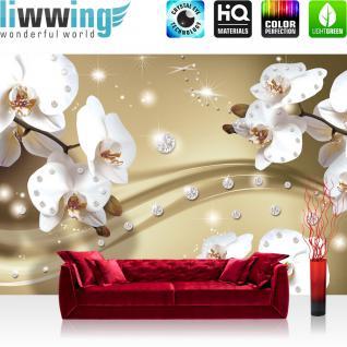 liwwing Vlies Fototapete 400x280 cm PREMIUM PLUS Wand Foto Tapete Wand Bild Vliestapete - Orchideen Tapete Ornament Orchidee Diamanten Blüten Blumen beige - no. 686