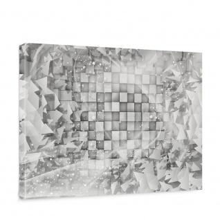 Leinwandbild Abstrakt Dreieck Quadrat Würfel Schwung Schnörkel Design Kugeln 3D Optik   no. 882