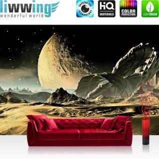 liwwing Vlies Fototapete 416x254cm PREMIUM PLUS Wand Foto Tapete Wand Bild Vliestapete - Sonstiges Tapete Weltall Mond Sand Transformer anthrazit - no. 2261