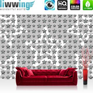 liwwing Vlies Fototapete 312x219cm PREMIUM PLUS Wand Foto Tapete Wand Bild Vliestapete - Texturen Tapete Sterne Stars Muster Design grau - no. 2544