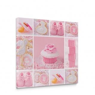 Leinwandbild Cupcake Storch Baby Babyschuhe Kekse | no. 3338
