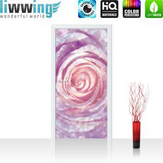 liwwing Vlies Türtapete 91x211 cm PREMIUM PLUS Tür Fototapete Türposter Türpanel Foto Tapete Bild - Rose Tropfen Blume Wasser - no. 602