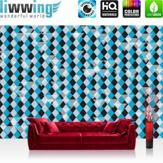 liwwing Vlies Fototapete 350x245 cm PREMIUM PLUS Wand Foto Tapete Wand Bild Vliestapete - Illustrationen Tapete Abstrakt Rechtecke Dreiecke Kacheln bunt Muster Illustrationen blau - no. 395